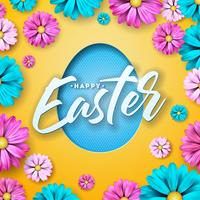 Happy Easter Design with Colorful Flower and Paper Cutting Egg Symbol
