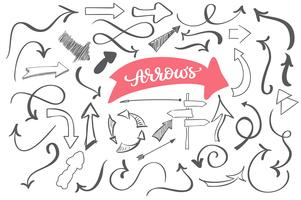 hand-drawn doodle arrows, sketch vector set. Dirty artistic design elements