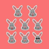 Cute rabbit emoji smiley face expression set in hand drawing cartoon style