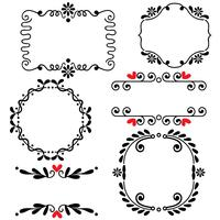 Hand drawn sketched line border wedding art vector illustration