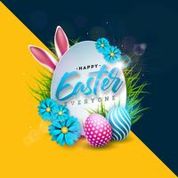 Glad påskferiedesign med målade ägg, kaninöron och vårblomma på färgstark bakgrund.