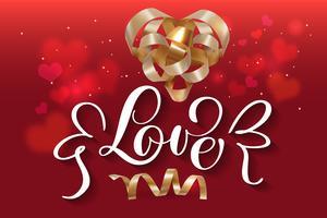 Ilustración de vector con cinta de oro de regalo de corazones