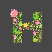 Letra de verano floral H