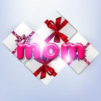 Buona festa della mamma. Illustrazione vettoriale di vacanza con scatole regalo e etichetta di testo. Banner di primavera 3d realistico. Voglio bene alla tua mamma. Segno di vendita o offerta di vacanza