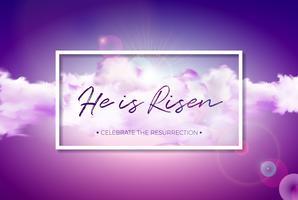 Ilustração do feriado da Páscoa com a nuvem no fundo do céu nebuloso. Ele está ressuscitado. Vector design religioso cristão