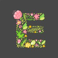Floral summer Letter E