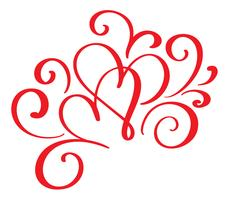 Vector Valentines day of flourish calligraphy vintage red hearts