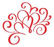 Vektor-Valentinsgrußtag von roten Herzen der Flourishkalligraphieweinlese