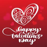 Iscrizione disegnata a mano felice della spazzola di giorno di biglietti di S. Valentino con il fondo di rosso del cuore