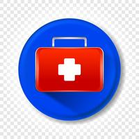 A realistic medical first-aid kit. Round Vector illustration.