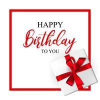 Birthday greeting card with realistic gift box and decorative bow