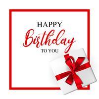 Geburtstagsgrußkarte mit realistischer Geschenkbox und dekorativem Bogen