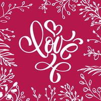With love lettering heart shaped