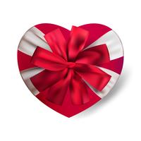 Vector realistic red heart shape gift box isolated on white background with bow