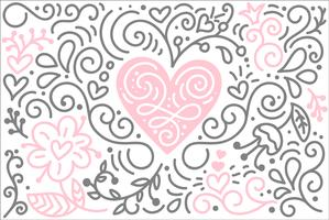 Scandinavian folk heart vector with flowers and flourish