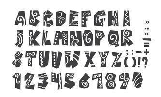 Grunge volle Alphabet- und Zahlvektorillustration