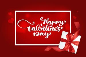 Happy Valentines Day romantic greeting card with a realistic gift box