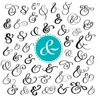 Big collection of custom handwritten ampersands