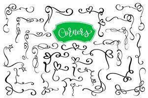 Hand drawn swirl and flourish corners vector