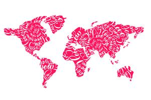 Pink world map with hearts i love you tags for Valentines Day vector