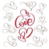 uppsättning blom kalligrafi vintage kärlek och hjärtan