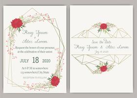 Elegant wedding cards consist of various kinds of flowers. vector