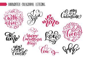 Satz Phrase Valentinstag Kalligraphie
