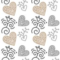 Seamless pattern with hand painted leaves in Scandinavian style