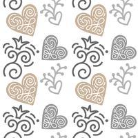 Sömlöst mönster med handmålade blad i skandinavisk stil