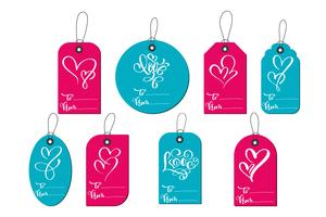 Valentines day gift tags and cards vector