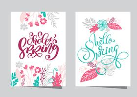 Hand drawn lettering hello Spring