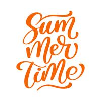 Summer time lettering vector logo illusrtation