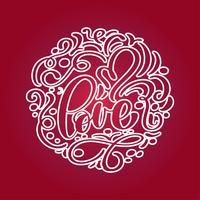 Con amore lettering a forma di cuore. Frase romantica disegnata a mano