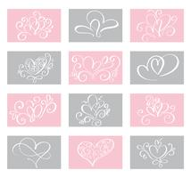 Set Love Vector Valentines day cards templates