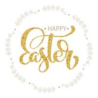 Happy Easter Hand gold drawn calligraphy and brush pen lettering in wreath