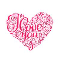 Eu te amo texto no coração. Cartão de brilho de caligrafia de dia dos namorados