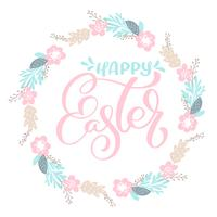 Hand drawn lettering Happy Easter wreath with flowers, branches and leaves. vector illustration. Design for wedding invitations, greeting cards