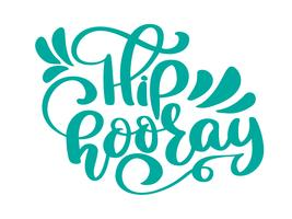 Hip hooray vector text greeting and birthday card. A phrase for celebrations and congratulations. Vector isolated illustration brush calligraphy, hand lettering
