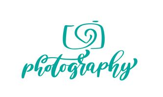 Cámara fotográfica logotipo icono vector plantilla inscripción caligráfica fotografía texto aislado sobre fondo blanco