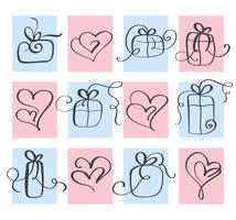 Set Love Vector Valentines day heart and gift