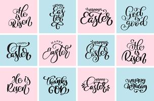 Stel citaat gelukkige Pasen, hij is Risen typografische ontwerpen vector zin. Hand getrokken christelijke kalligrafische tekst ontwerpsjablonen