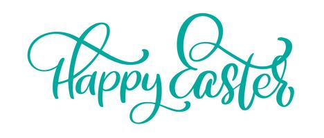 Hand getekend happy easter kalligrafie en penseel pen belettering. Vector illustratie ontwerp voor vakantie wenskaart en voor foto overlays, t-shirt afdrukken, flyer, posterontwerp