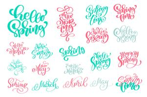 Set Hello Spring of Hand drawn quotes