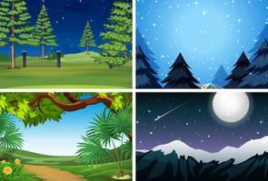 Conjunto de escena de la naturaleza por la noche.