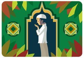 Niño musulmán rezando vector