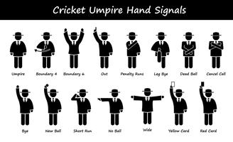 Cricket Umpire Referee Hand Signals Stick Figure Pictogram Icons.