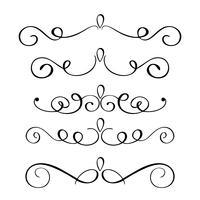 Set handdragen blomma kalligrafi element. Vektor illustration på en vit bakgrund