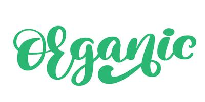 Ejemplo aislado calligpaphy dibujado mano orgánica del vector del icono. Dieta saludable y estilo de vida comida vegana símbolo. Insignia de dibujo a mano. Logotipo de letras para el menú del restaurante vegetariano, cafetería, mercado agrícola