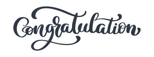 Congratulation Vintage Lettering, Handwritten Vector Illustration for greeting