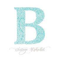 Hand drawn B letter calligraphy vintage logo design template